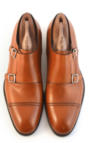 Tan leather double monk strap shoes