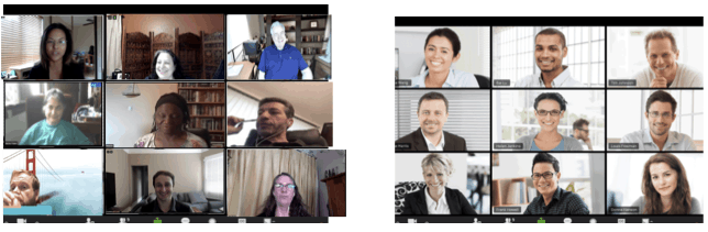 Corporate Zoom Makeover Zoom Fatigue Before and after