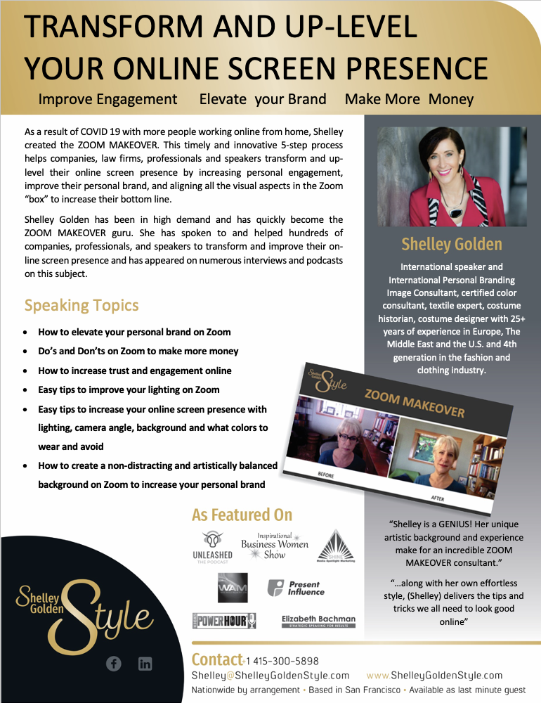 Shelley Golden keynote speaker on looking your best on zoom in the united states